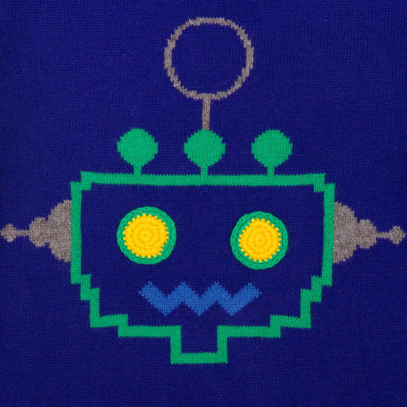 Baby Boys Regatta Blue Embroidered  Robot Sweater - CÉMAROSE | Children's Fashion Store - 3