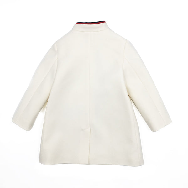 Baby  Girls  White  Woven   Coat