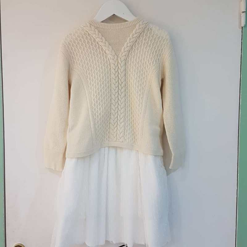 Girls Natural White Cashmere Dresse