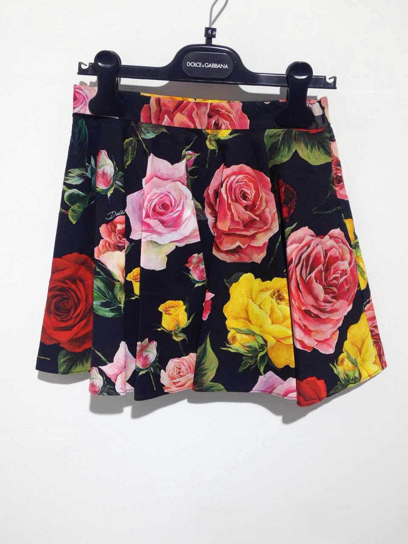 Girls Black Rose Cotton Skirt