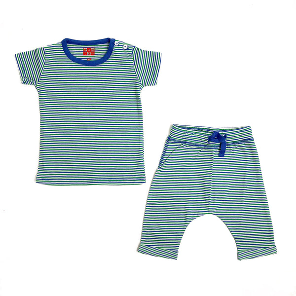 Baby Boys Green Ray Stripes Cotton Set