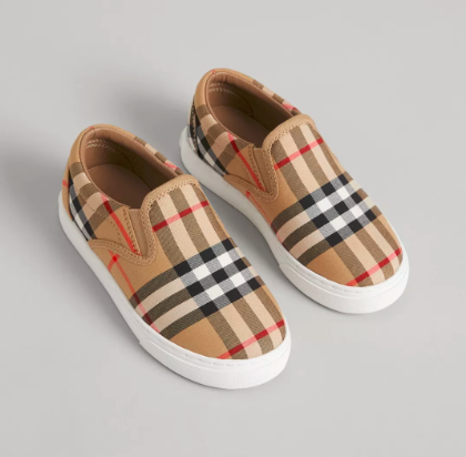 Girls & Boys Antique Yellow Check Shoes