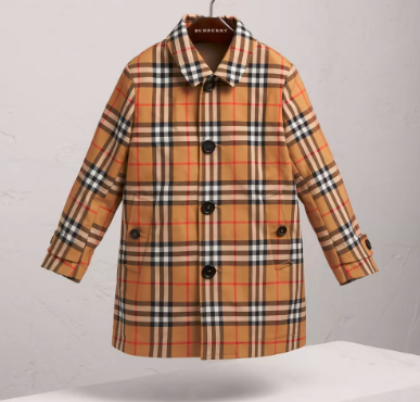 Boys Antique Yellow Check Coat