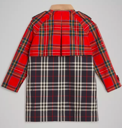 Boys Navy & Red Check Cotton Coat