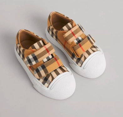 Baby Antique Yellow Check Cotton Shoes