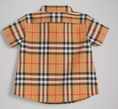 Baby Boys Antique Yellow Check Cotton Polo Shirt