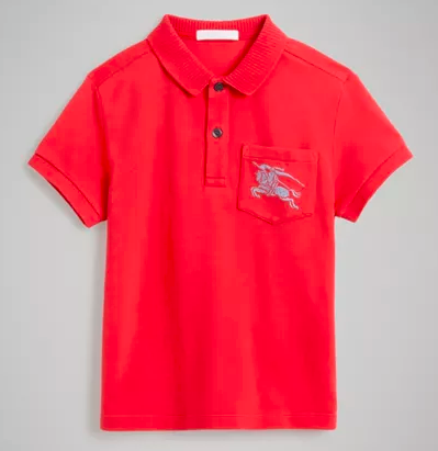 Boys Bright Red Cotton Polo Shirt