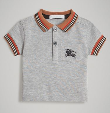 Baby Boys Grey Cotton Polo Shirt