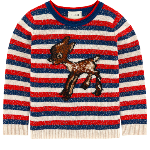 Girls Blue & Red Stripes Wool Sweater