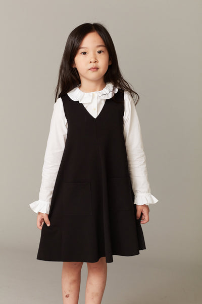 Girls Black V-neck Dress