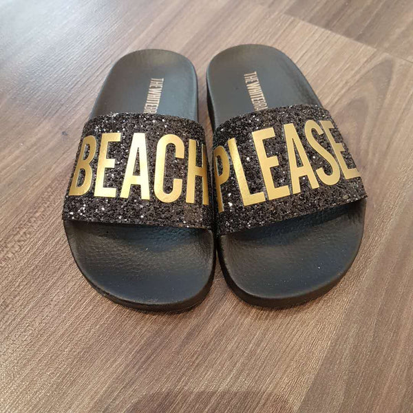 Girls Black & Gold Sandals