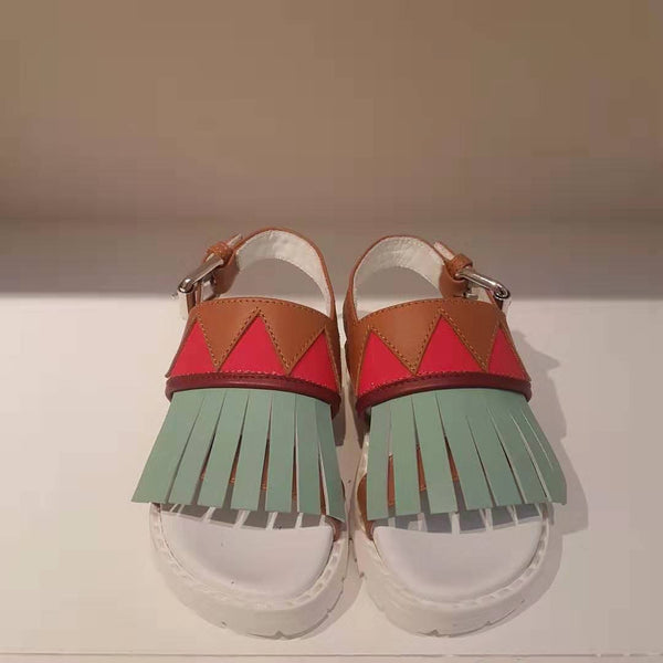 Girls Brown & Light Green Leather Sandals