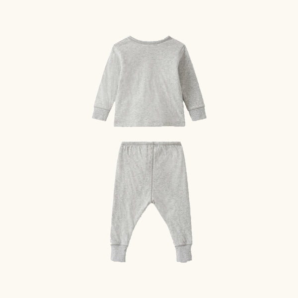 Baby Boys & Girls Light Grey Cotton Babysuit