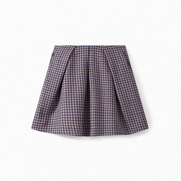 Girls Prune Check Skirt