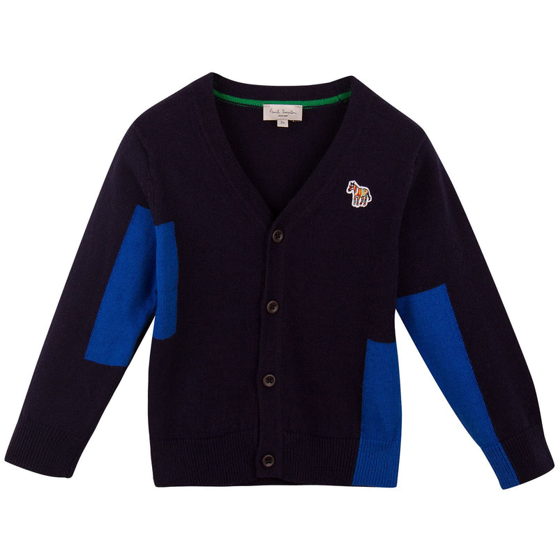 Boys Navy Blue Colour Block Cardigan With Embroidered Zebra Logo - CÉMAROSE | Children's Fashion Store - 1