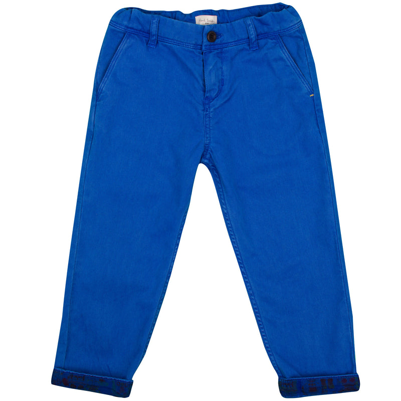 Baby Boys Ultra Blue Trousers  With A Leather Logo Patch - CÉMAROSE | Children's Fashion Store - 1