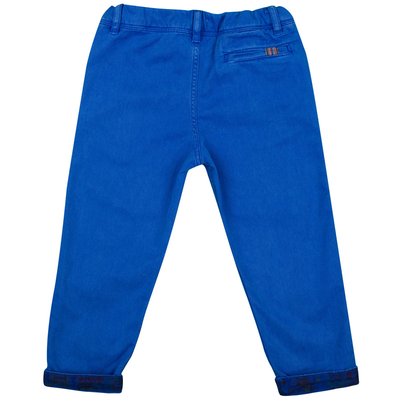 Baby Boys Ultra Blue Trousers  With A Leather Logo Patch - CÉMAROSE | Children's Fashion Store - 2