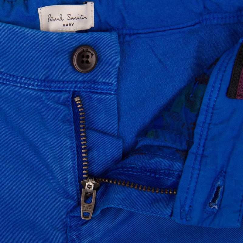 Baby Boys Ultra Blue Trousers  With A Leather Logo Patch - CÉMAROSE | Children's Fashion Store - 3