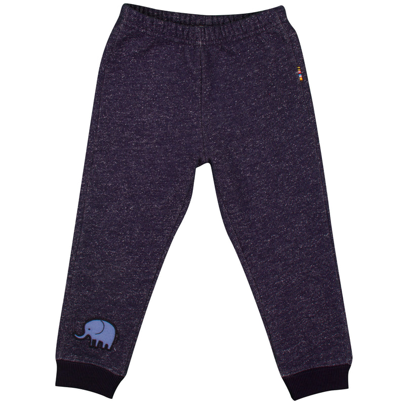 Baby Boys Navy Blue Embroidered Elephant Fleecy  Trousers - CÉMAROSE | Children's Fashion Store - 1