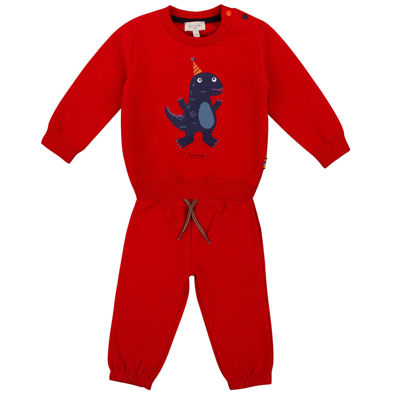 Baby Boys Red Dinosaur Printed Cotton Jersey Tracksuit - CÉMAROSE | Children's Fashion Store - 1