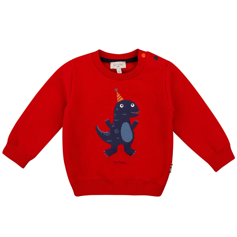 Baby Boys Red Dinosaur Printed Cotton Jersey Tracksuit - CÉMAROSE | Children's Fashion Store - 2