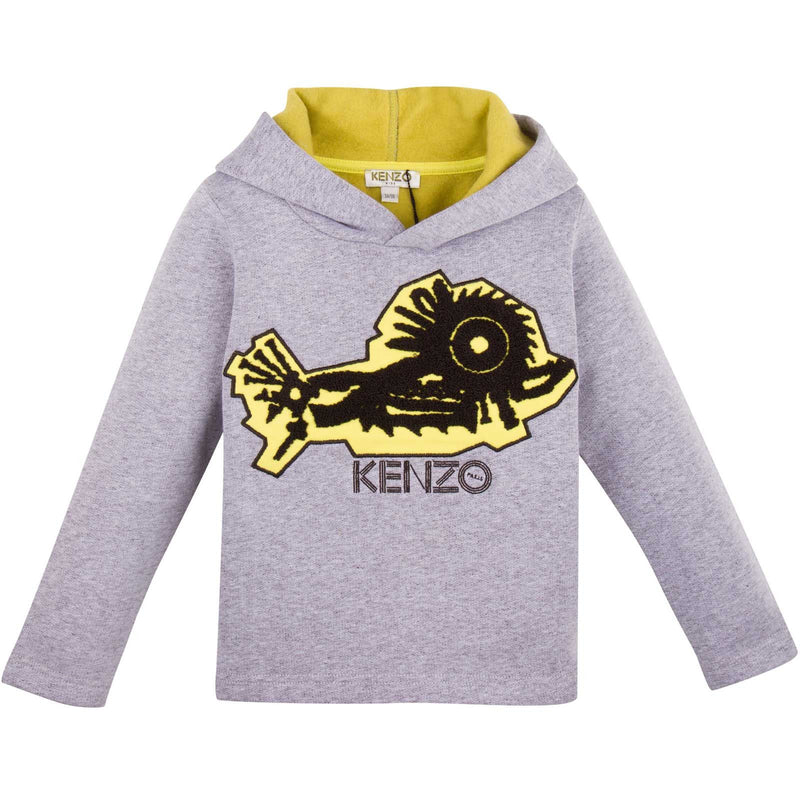 Boys Grey Monster Embroidered Hooded Sweatshirt - CÉMAROSE | Children's Fashion Store - 1
