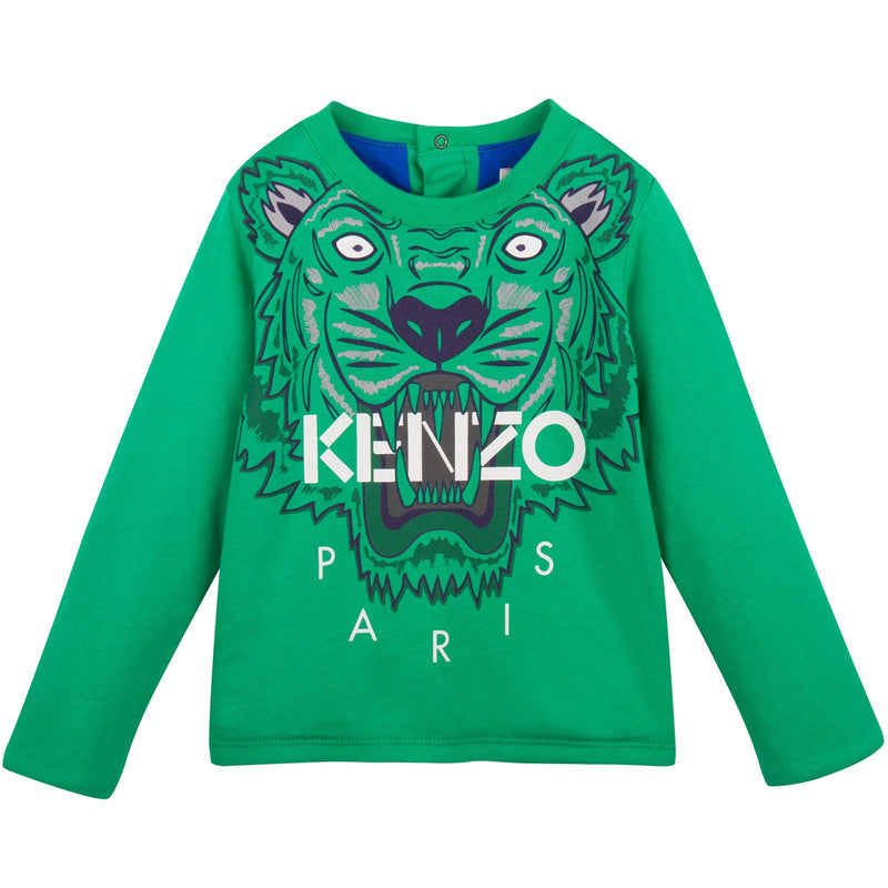 Baby Green Tiger Printed Sweatshirt With Blue Lining - CÉMAROSE | Children's Fashion Store - 1