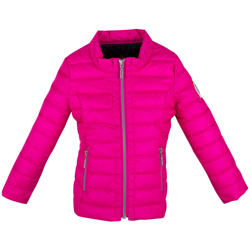 Girls Pink Down Padded Jacket With Zipper Pockets - CÉMAROSE | Children's Fashion Store - 1