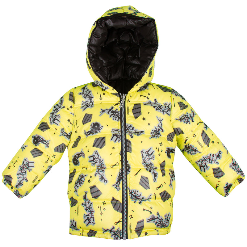 Baby Boys Lime Green Monster Printed Reversible Jacket - CÉMAROSE | Children's Fashion Store - 1