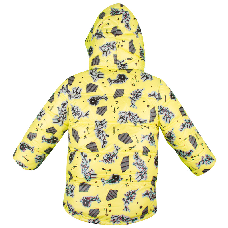 Baby Boys Lime Green Monster Printed Reversible Jacket - CÉMAROSE | Children's Fashion Store - 2