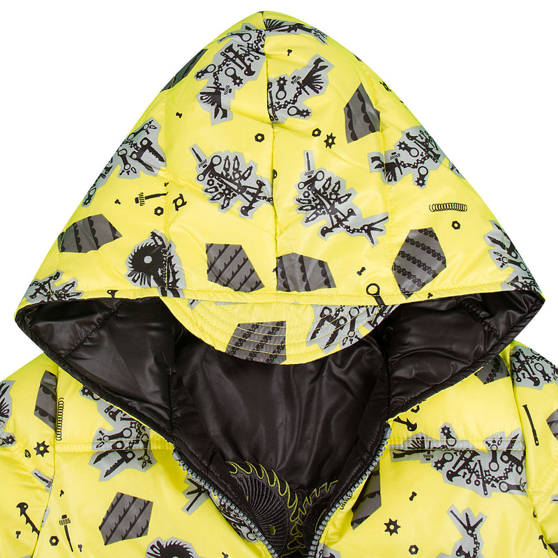 Baby Boys Lime Green Monster Printed Reversible Jacket - CÉMAROSE | Children's Fashion Store - 5