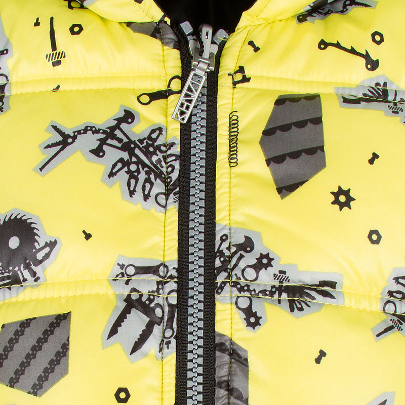 Baby Boys Lime Green Monster Printed Reversible Jacket - CÉMAROSE | Children's Fashion Store - 6