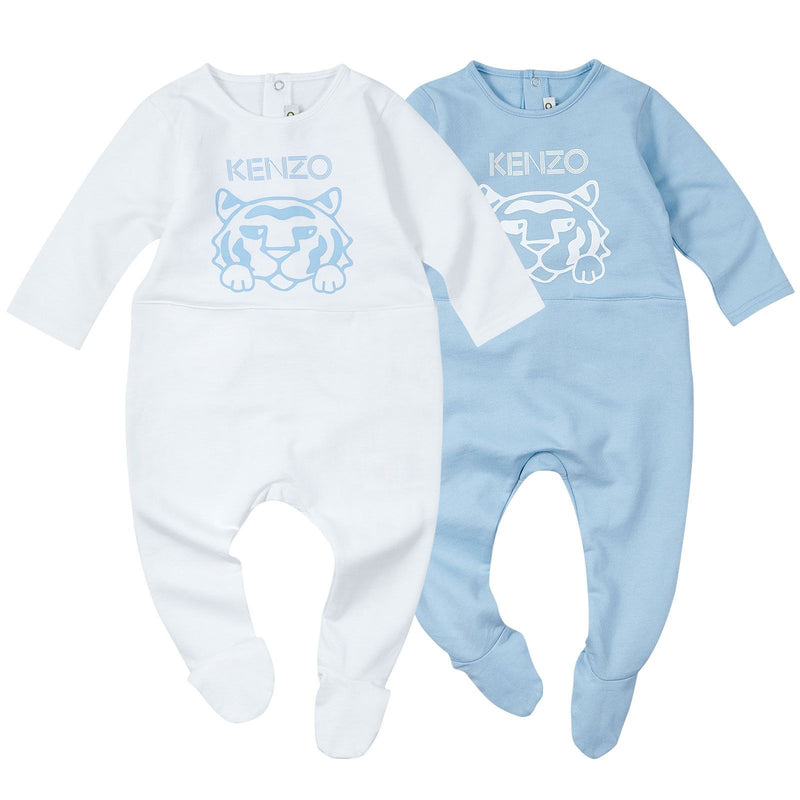 Baby Girls Blue&White Tiger Printed Babygrow - CÉMAROSE | Children's Fashion Store - 1