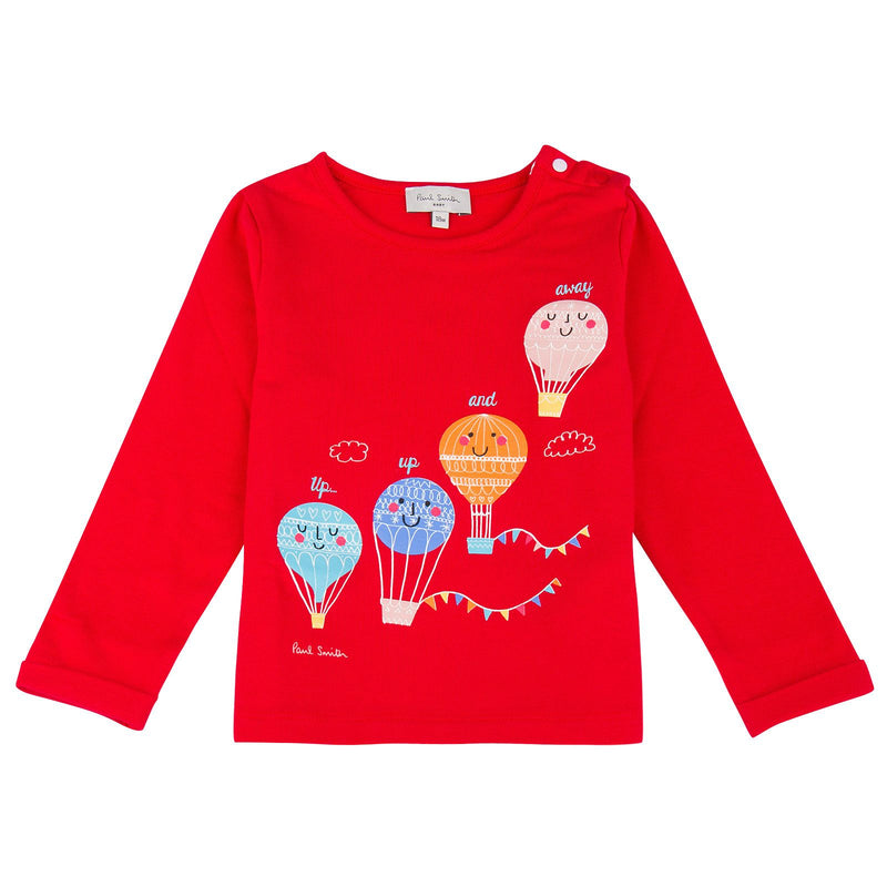 Baby Girls Red Balloons Printed T-Shirt - CÉMAROSE | Children's Fashion Store - 1