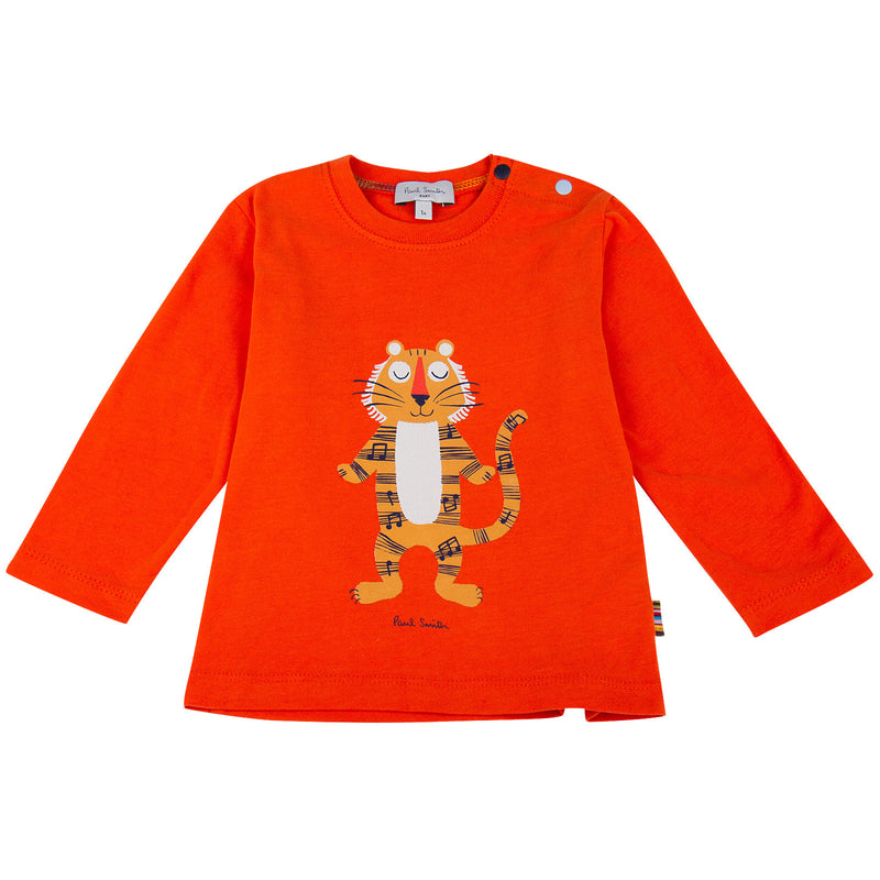 Baby Boys Orange Tiger Printed T-Shirt - CÉMAROSE | Children's Fashion Store - 1
