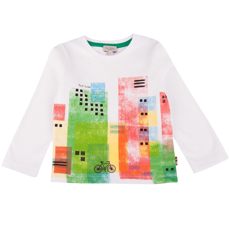 Boys White Cityscape Printed T-Shirt - CÉMAROSE | Children's Fashion Store - 1