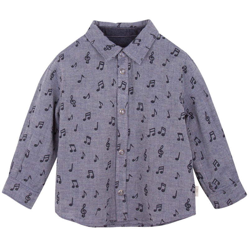 Baby Boys Navy Blue Musical Notes Chambray Printed Shirt - CÉMAROSE | Children's Fashion Store - 1