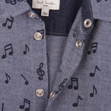Baby Boys Navy Blue Musical Notes Chambray Printed Shirt - CÉMAROSE | Children's Fashion Store - 3