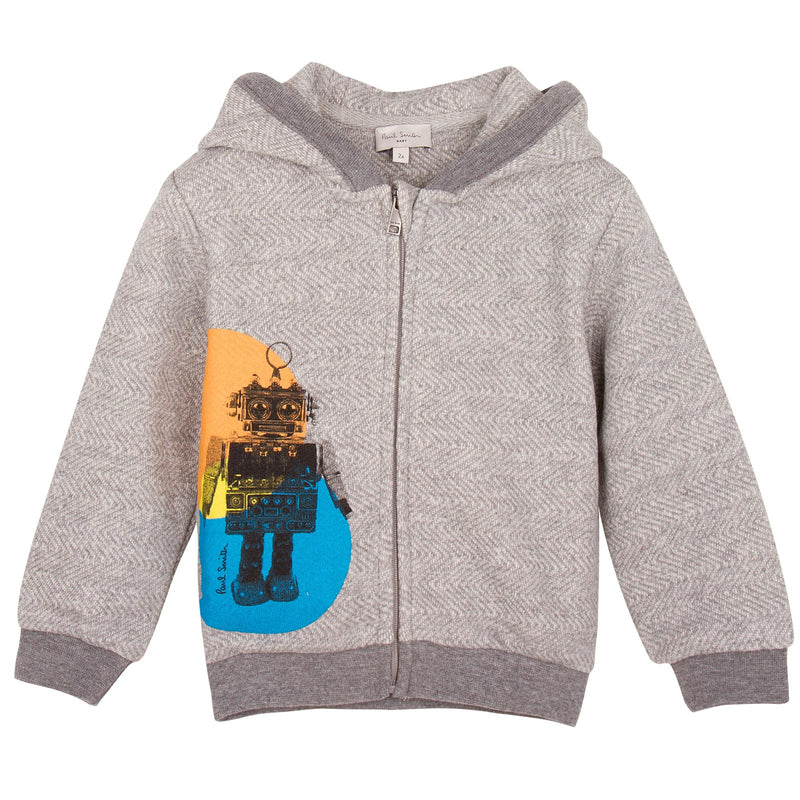 Baby Boys Grey Robot Printed Zip-Up Top - CÉMAROSE | Children's Fashion Store - 1
