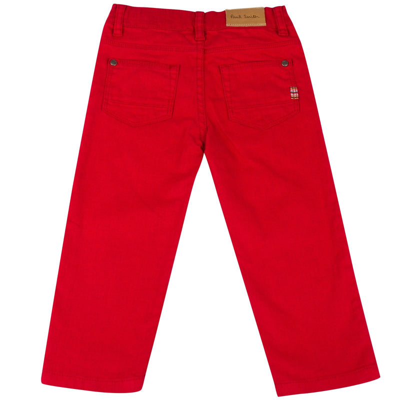 Baby Girls Red Trousers With A Leather Logo Patc - CÉMAROSE | Children's Fashion Store - 2