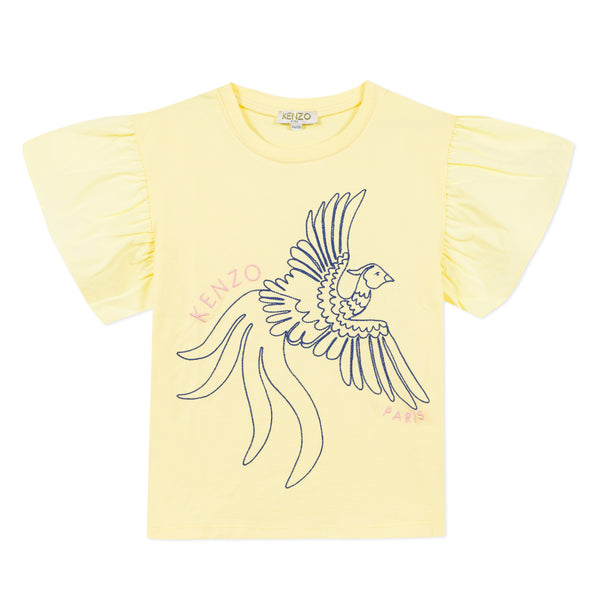 Girls Yellow Printed T-shirt