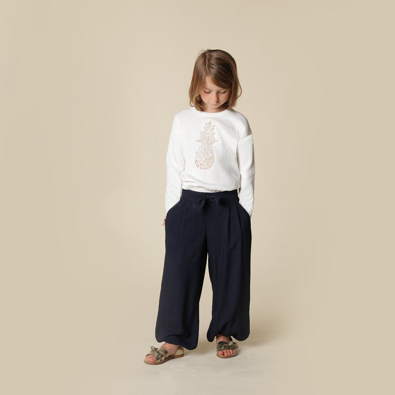 Baby Girls Blue Viscose Trousers