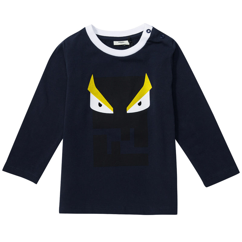 Baby Boys Navy Blue Monster Printed T-Shirt - CÉMAROSE | Children's Fashion Store - 1