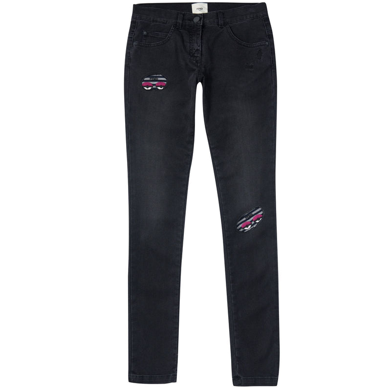 Girls Black Monster Slim Fit Jeans - CÉMAROSE | Children's Fashion Store - 1