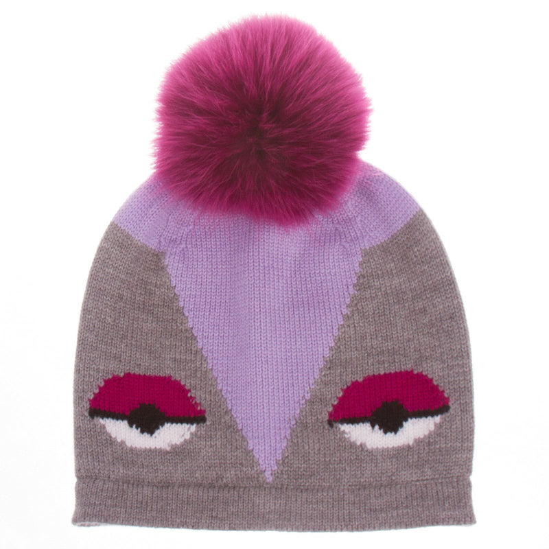 Girls Grey Monster Wool Hat With Red Fur Trims - CÉMAROSE | Children's Fashion Store - 1
