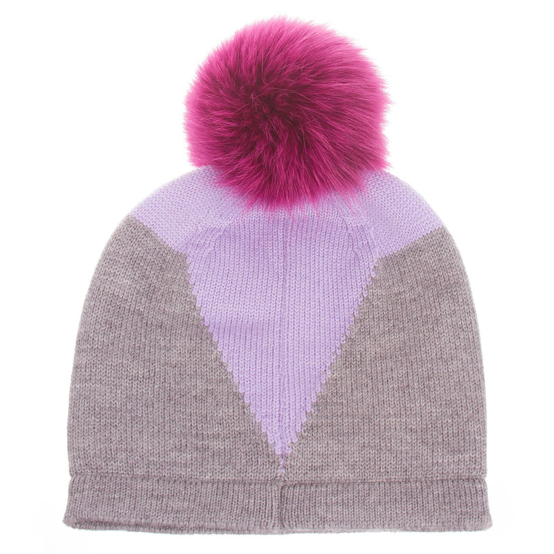 Girls Grey Monster Wool Hat With Red Fur Trims - CÉMAROSE | Children's Fashion Store - 2