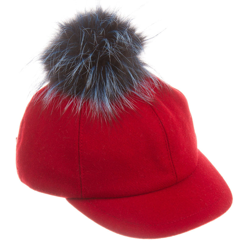 Girls Red Wool Cap With Blue Fur Trim - CÉMAROSE | Children's Fashion Store - 1