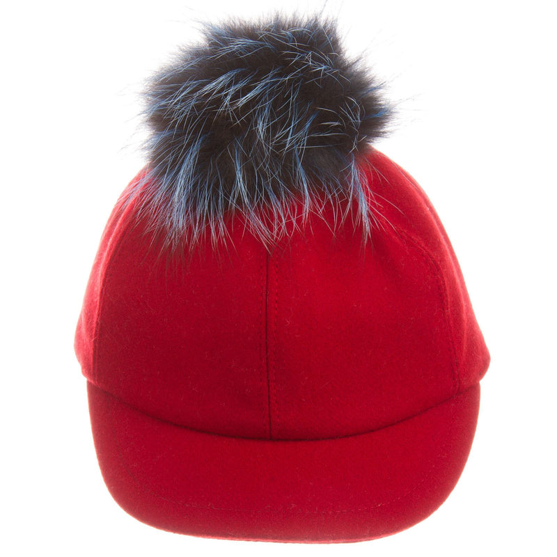 Girls Red Wool Cap With Blue Fur Trim - CÉMAROSE | Children's Fashion Store - 2