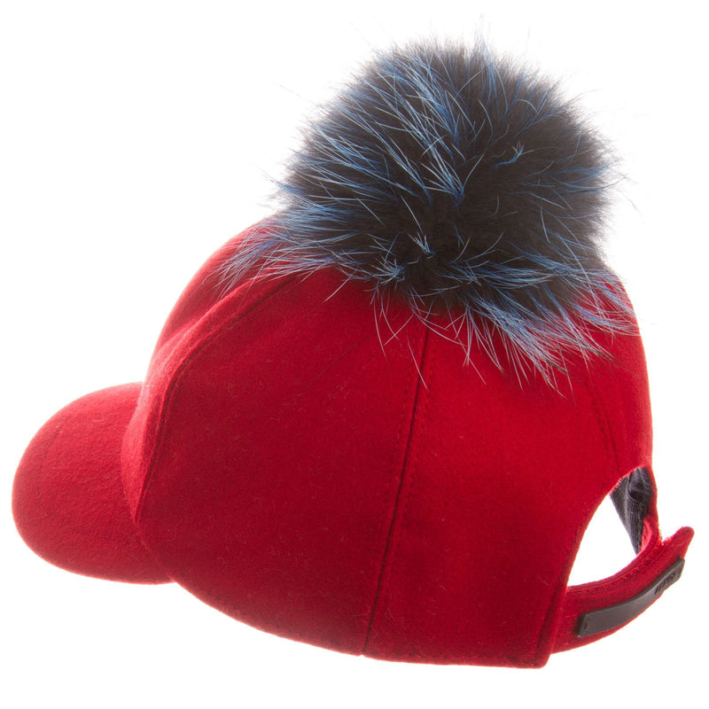 Girls Red Wool Cap With Blue Fur Trim - CÉMAROSE | Children's Fashion Store - 3
