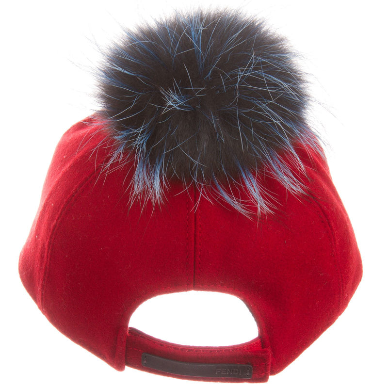 Girls Red Wool Cap With Blue Fur Trim - CÉMAROSE | Children's Fashion Store - 4